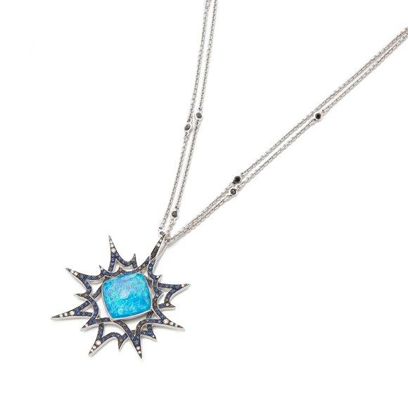 Stephen Webster Murder She Wrote 18ct White Gold Black Opal Crystal Haze Necklace