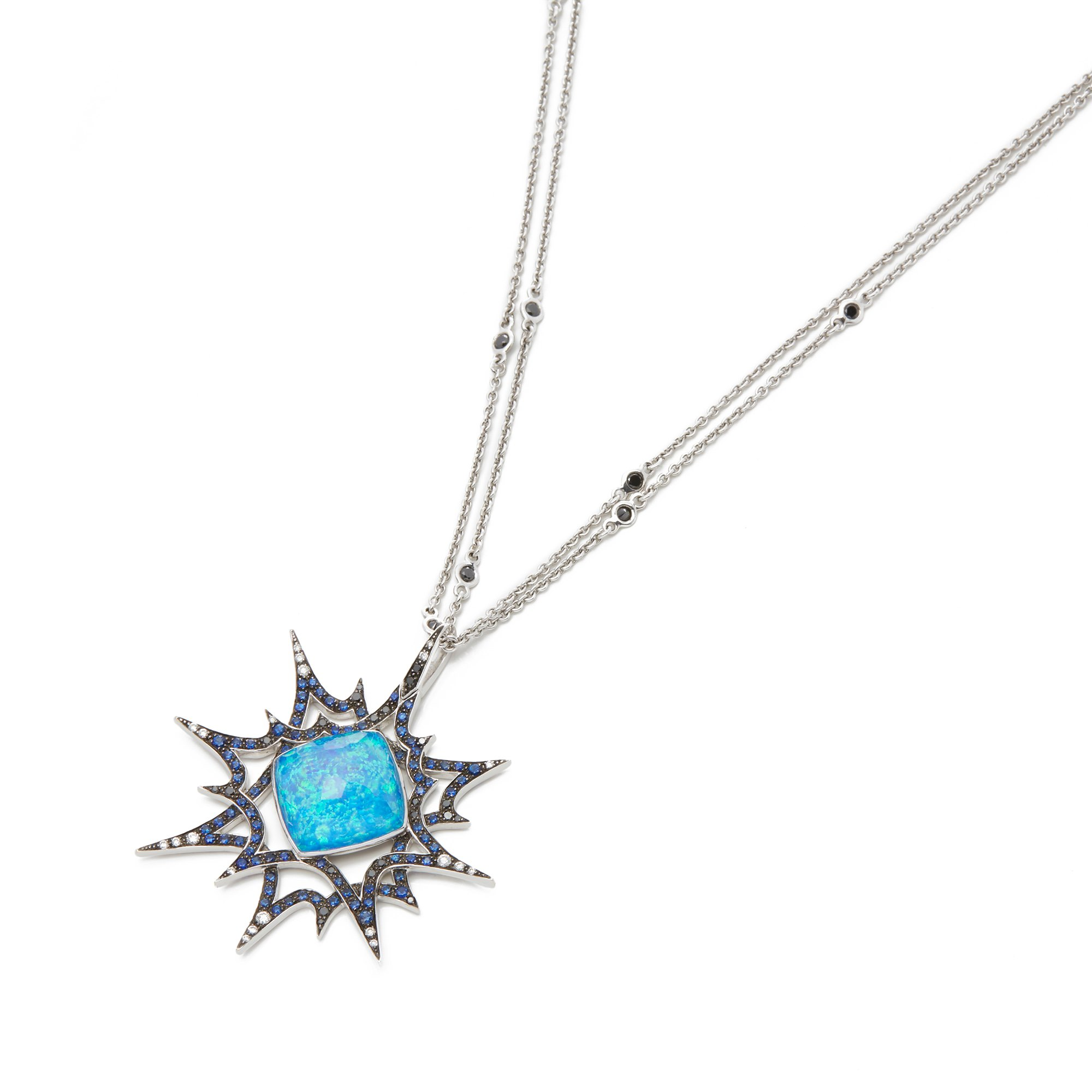 Stephen Webster Murder She Wrote 18ct White Gold Black Opal Crystal Haze Necklace