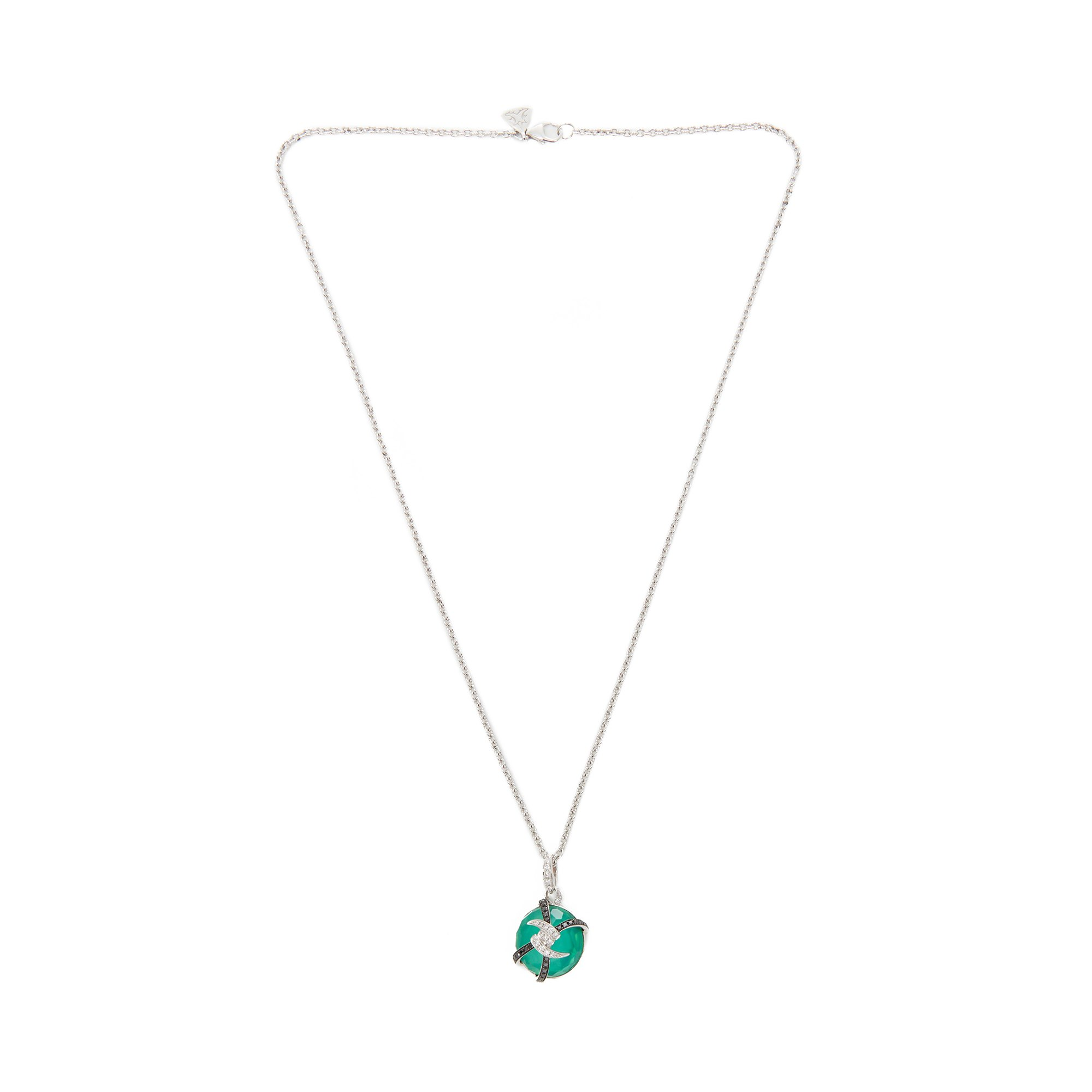 Stephen Webster Forget me Not 18ct White Gold Diamond and Green Agate Necklace