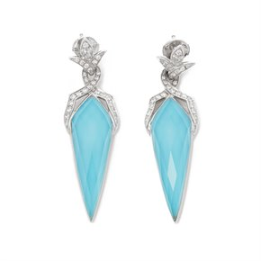 Stephen Webster Crystal Haze 18ct White Gold Turquoise Quartz and Diamond Earrings