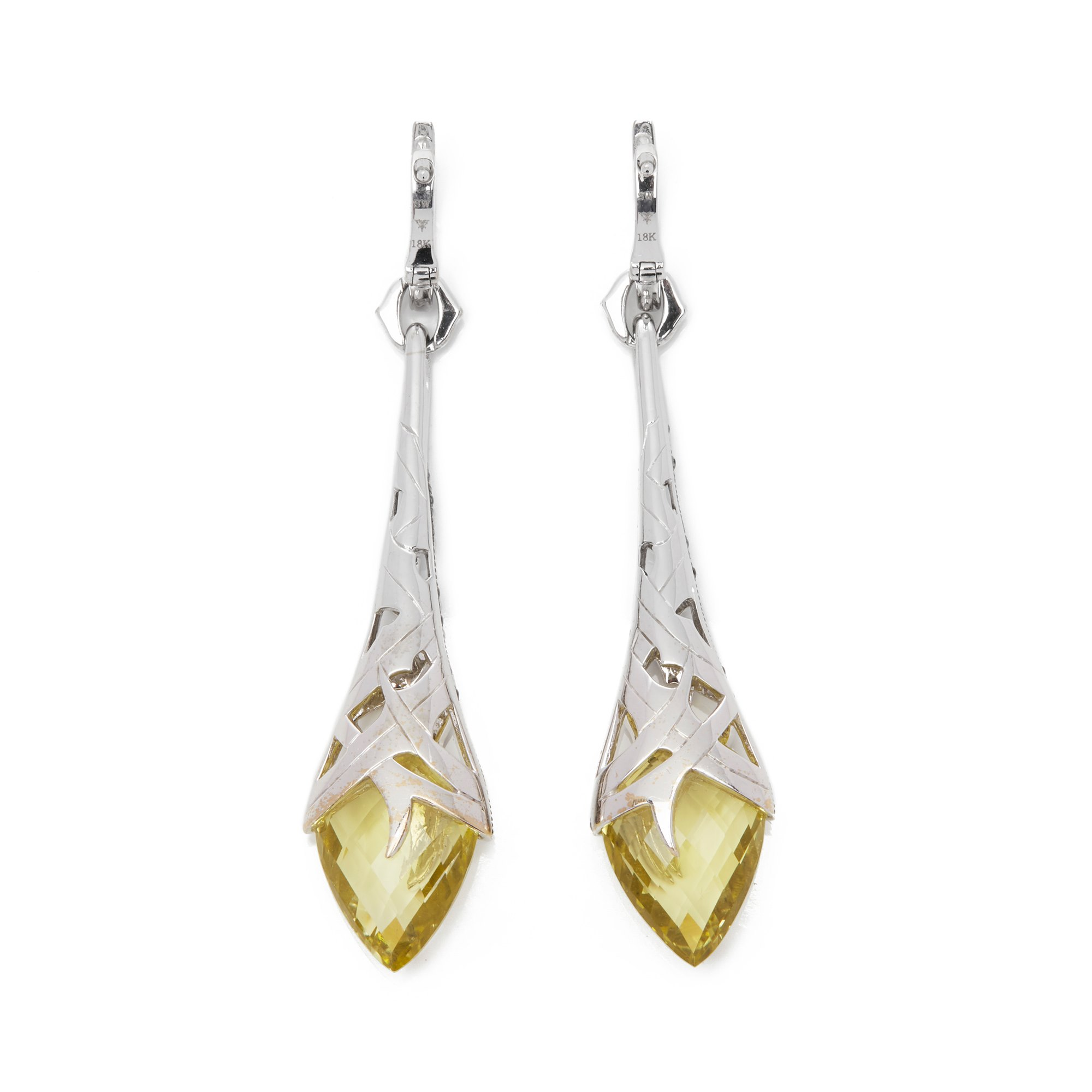 Stephen Webster Thorn 18ct White Gold Oriverdi and Black Diamond Drop Earrings