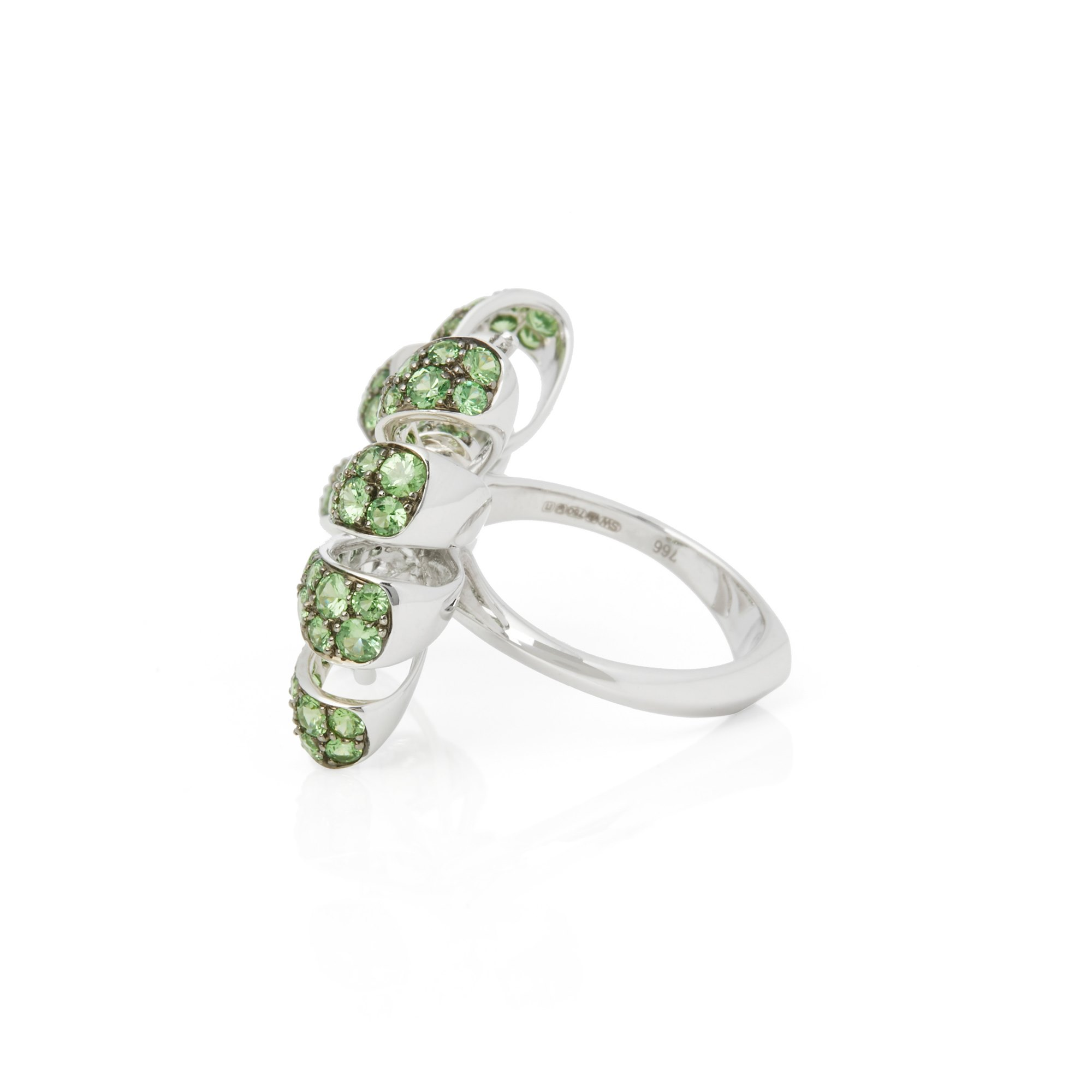 Stephen Webster Forget me Not 18ct White Gold Pave Tsavorite Bow Ring