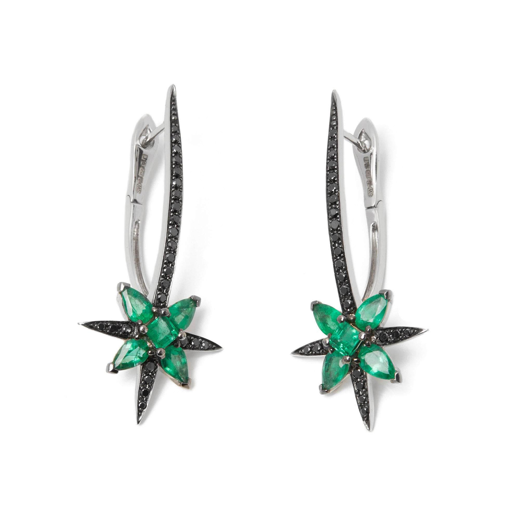 Stephen Webster Belle Epoque 18ct White Gold Emerald and Diamond Earring