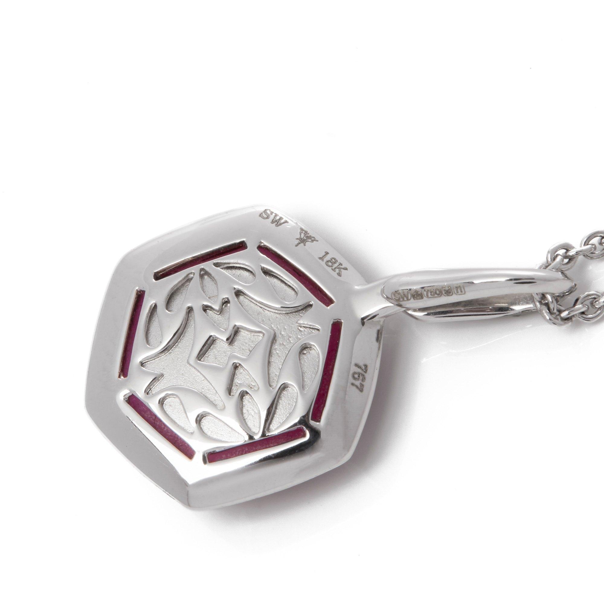 Stephen Webster Deco Haze 18ct White Gold Ruby Quartz and Black Diamond Necklace