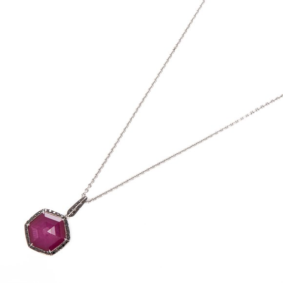Stephen Webster Deco Haze 18ct White Gold Ruby Quartz and Black Diamond Necklace