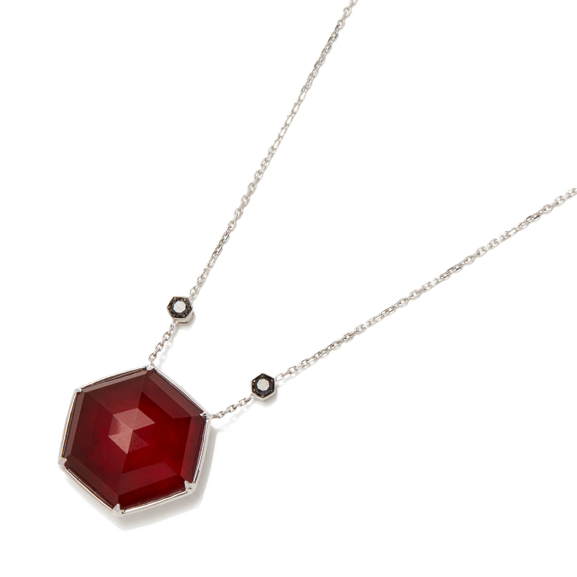 Stephen Webster Deco Haze 18ct Gold Black Diamond and Ruby Quartz Crystal Haze Necklace