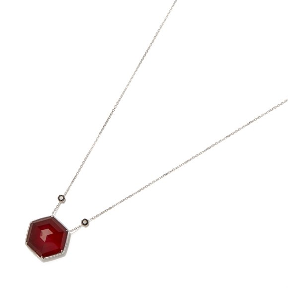 Stephen Webster Deco Haze 18ct Gold Black Diamond and Ruby Quartz Crystal Haze Necklace