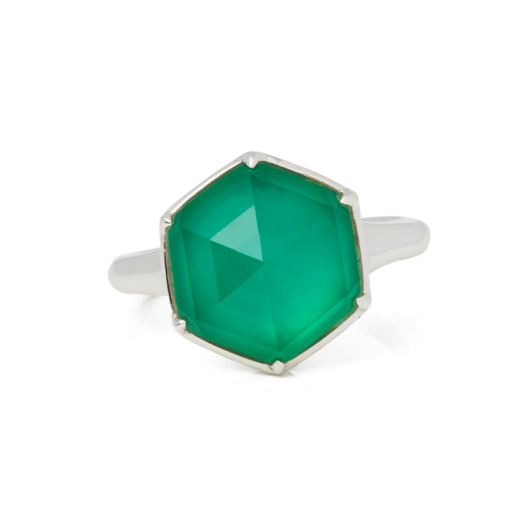 Stephen Webster Deco Haze 18ct White Gold Green Agate Quartz Ring