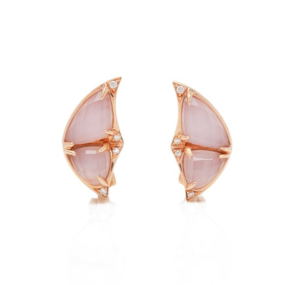 Stephen Webster Fly by night 18ct Rose Gold Rose Quartz Crystal Haze Earrings