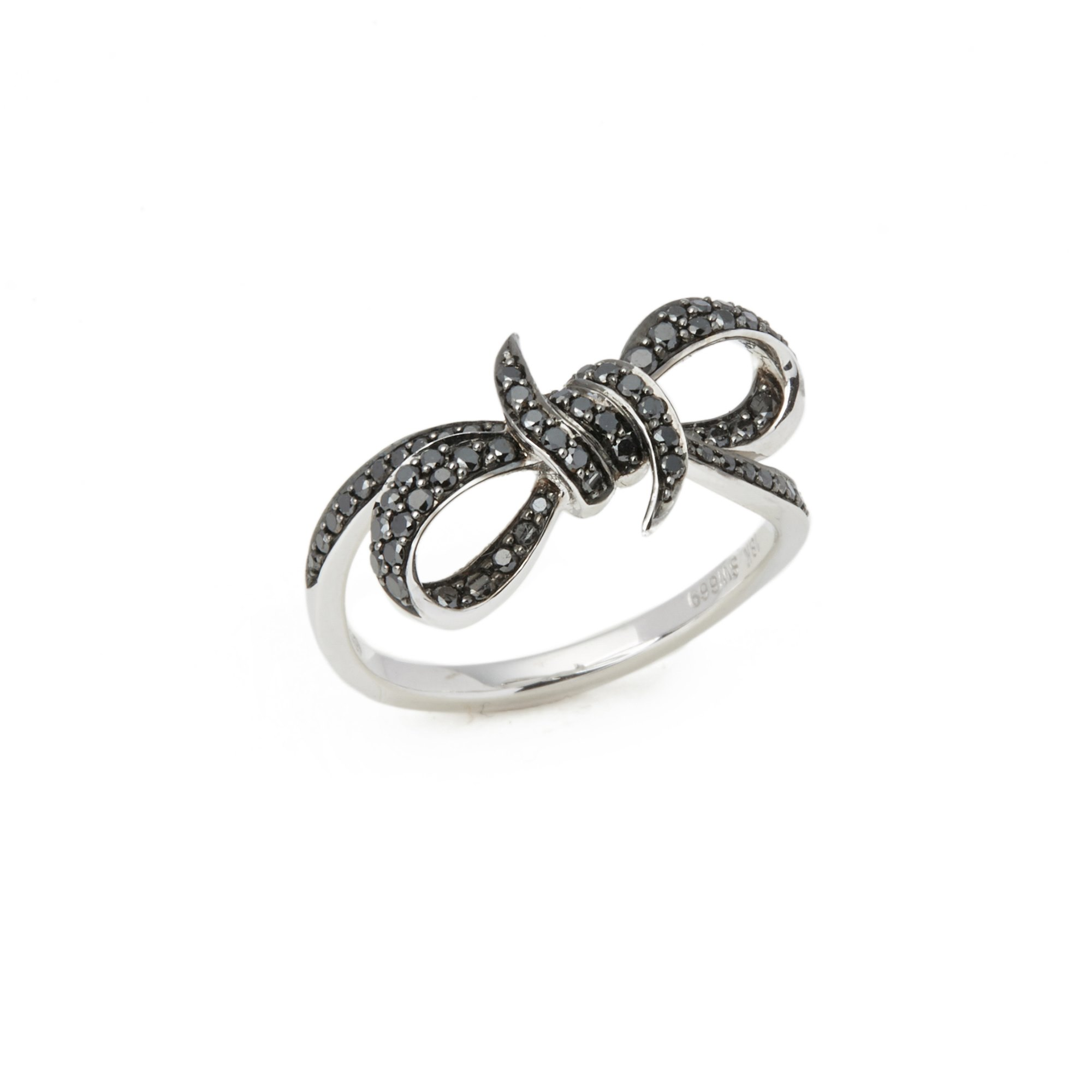 Stephen Webster Forget Me Knot 18ct White Gold Black Diamond Small Bow Ring