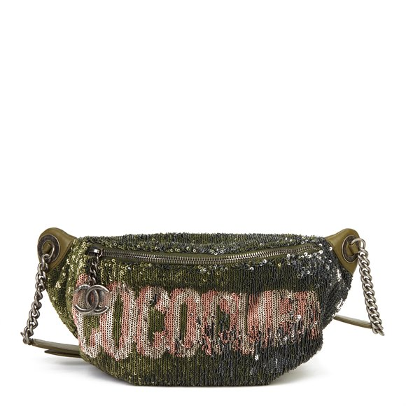 Chanel Khaki Quilted Lambskin Sequin Embellishment Coco Cuba