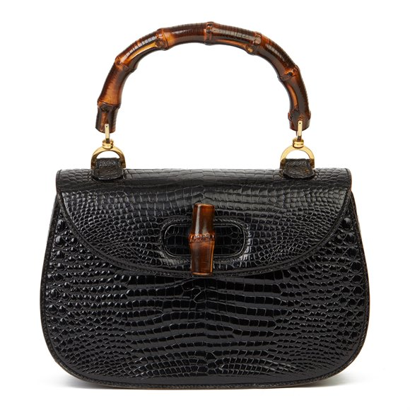 Gucci Black Alligator Leather Bamboo Classic Top Handle