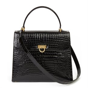 William & Son Black Shiny Porosus Crocodile Leather Large Top Handle Tote