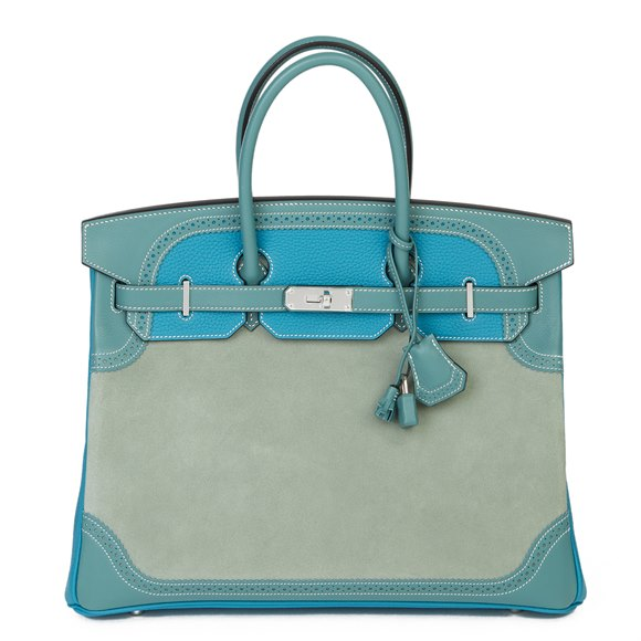 Hermès Turquouise Clemence Leather, Ciel Evercolour Leather & Grizzly Suede Ghillies Birkin 35cm