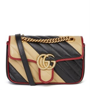 Gucci Black, Cream & Red Diagonal Quilted Aged Calfskin Leather Mini Marmont
