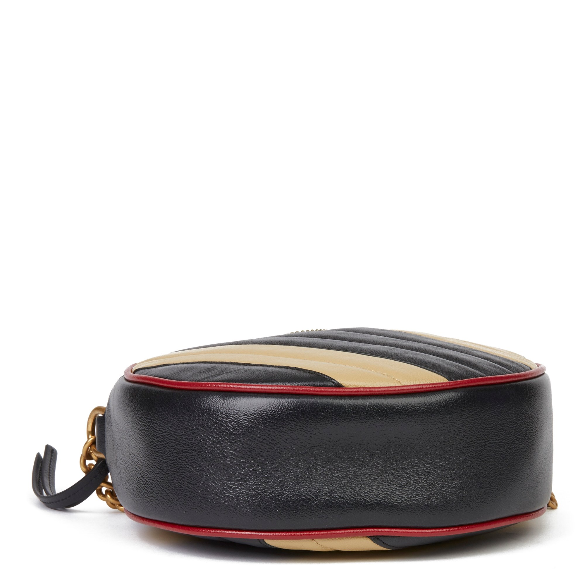Gucci Black, Cream & Red Diagonal Quilted Aged Calfskin Leather Mini Round Marmont