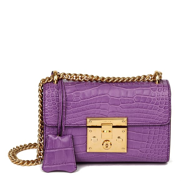 Gucci Violet Cyclamen Matte Alligator Leather Small Padlock Shoulder Bag
