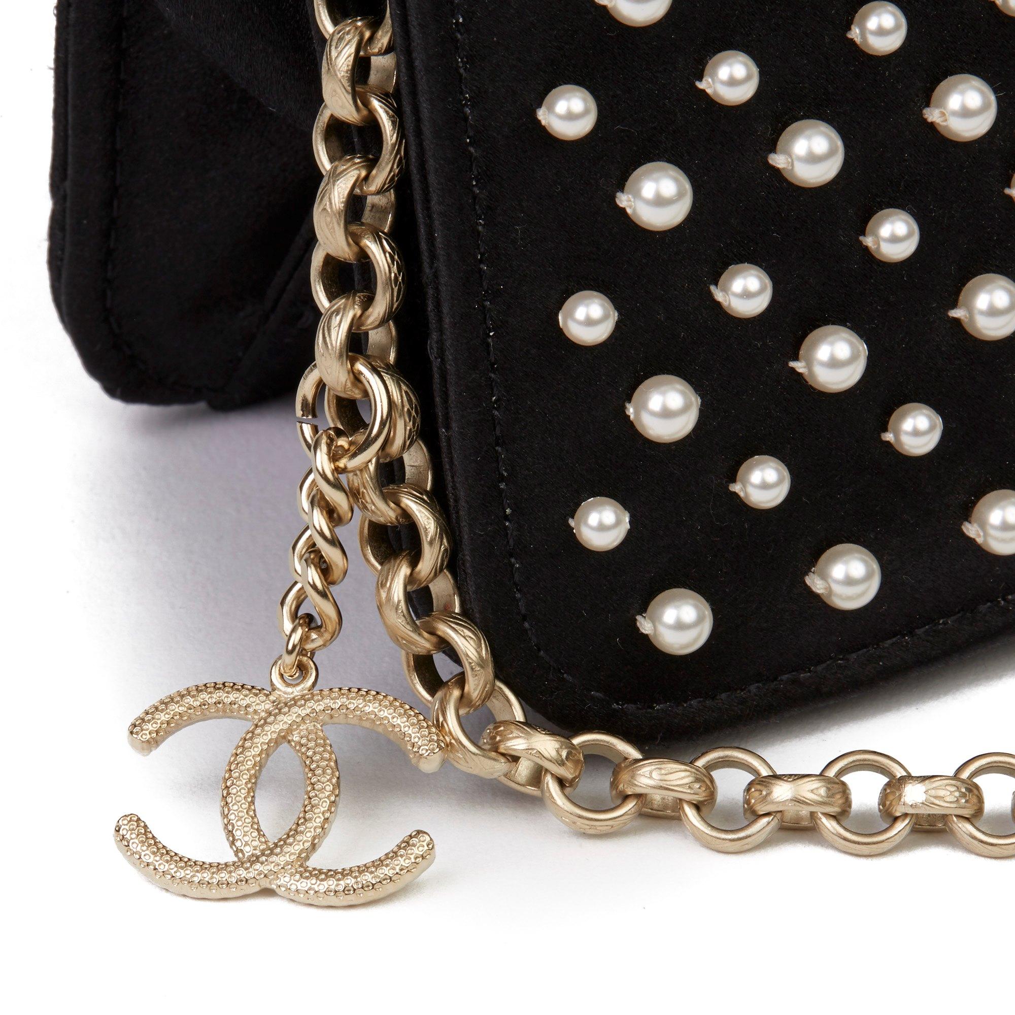 Chanel Black Embellished Quilted Satin Pearl Flap Bag