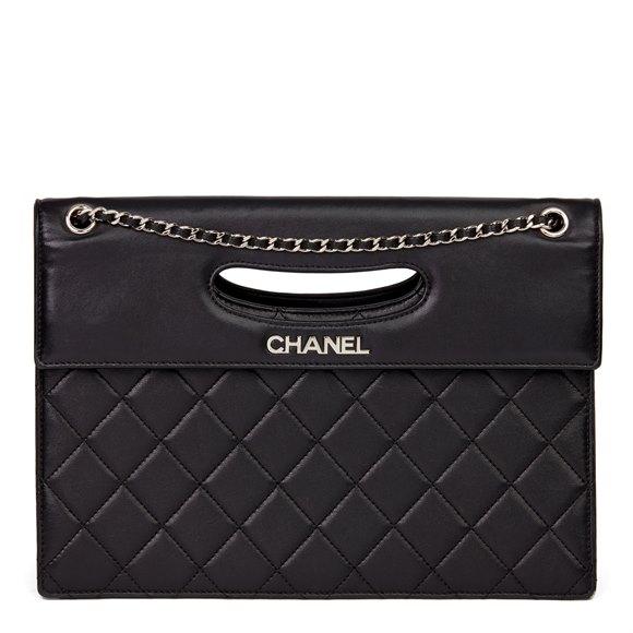 Chanel Black Quilted Lambskin Timeless Foldover Shoulder Bag