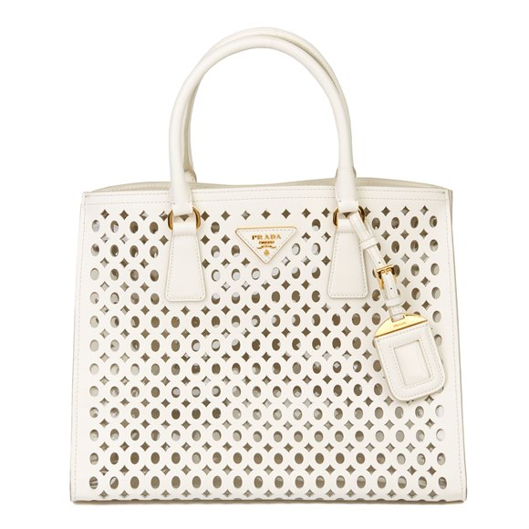 Prada White Perforated Saffiano Leather & PVC Fori Tote