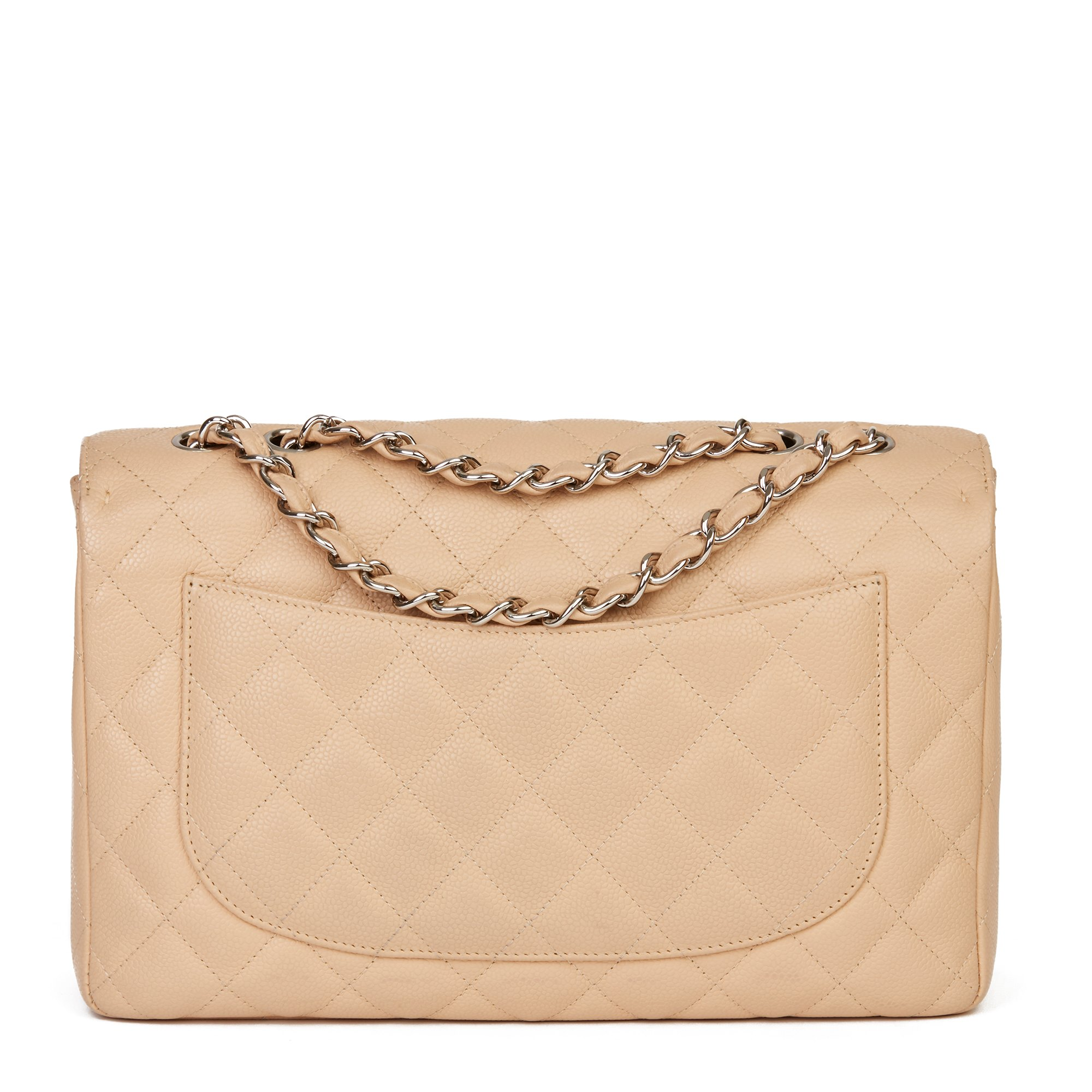 Chanel Beige Quilted Caviar Leather Jumbo Classic Single Flap Bag