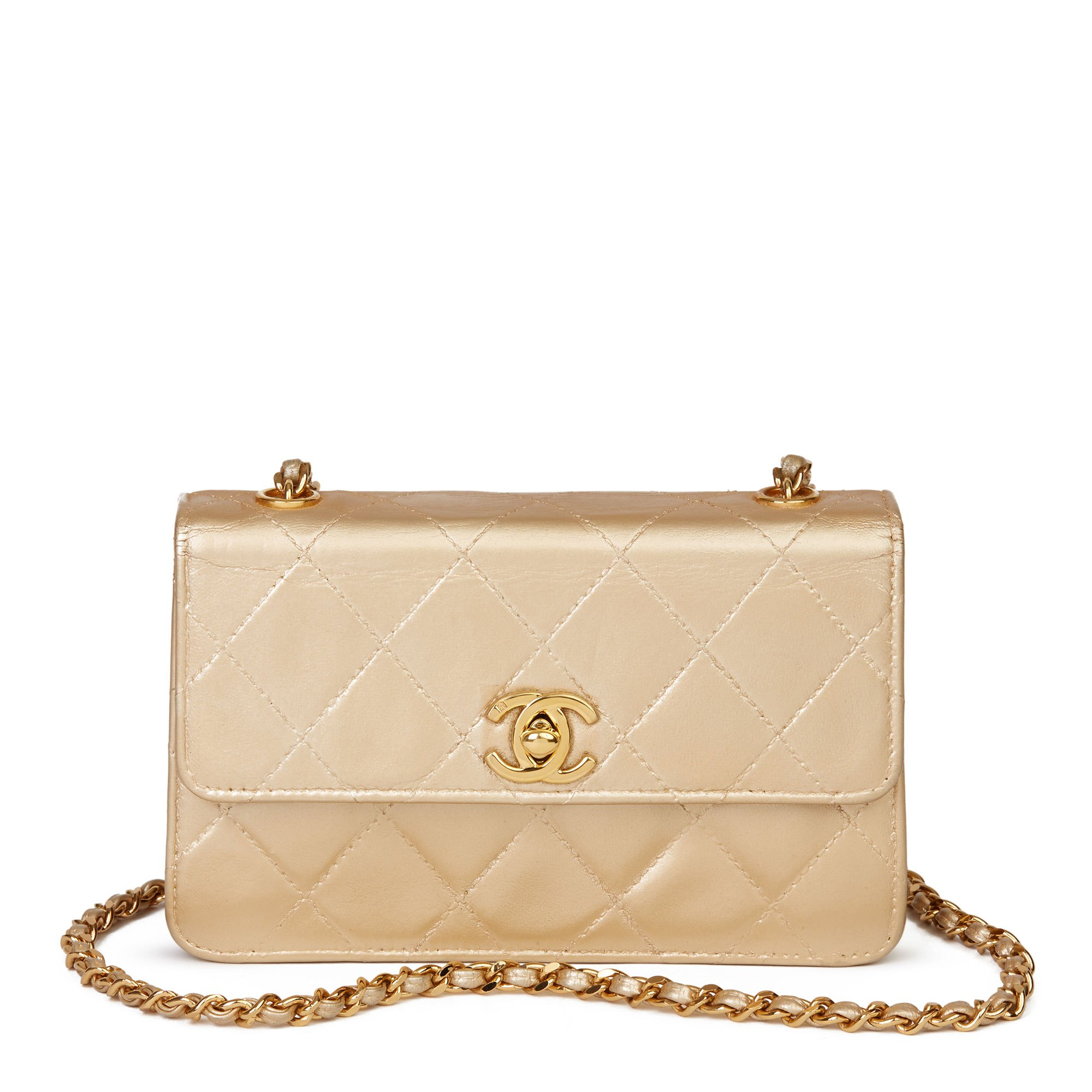 Chanel Gold Quilted Metallic Lambskin Vintage Mini Flap Bag