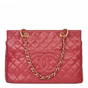 Chanel Red Quilted Caviar Leather Vintage Grand Shopping Tote GST