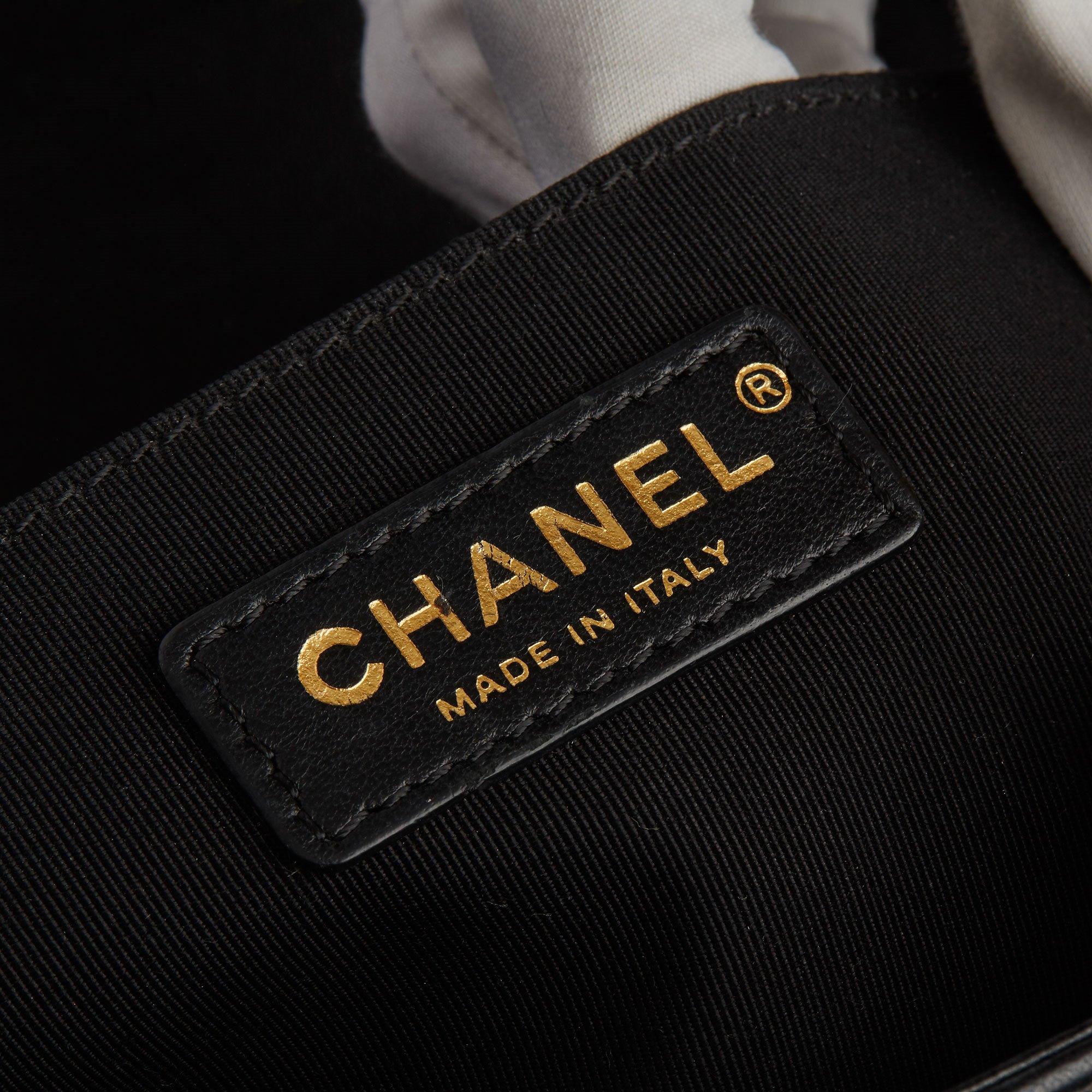 Chanel Black Quilted Lambskin, Black & Gold Grosgrain Chain Around Medium Le Boy