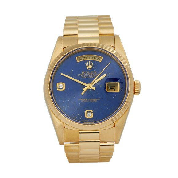 Rolex Day-Date 36 Lapis Lazuli Diamond Unpolished 18K Yellow Gold - 18238
