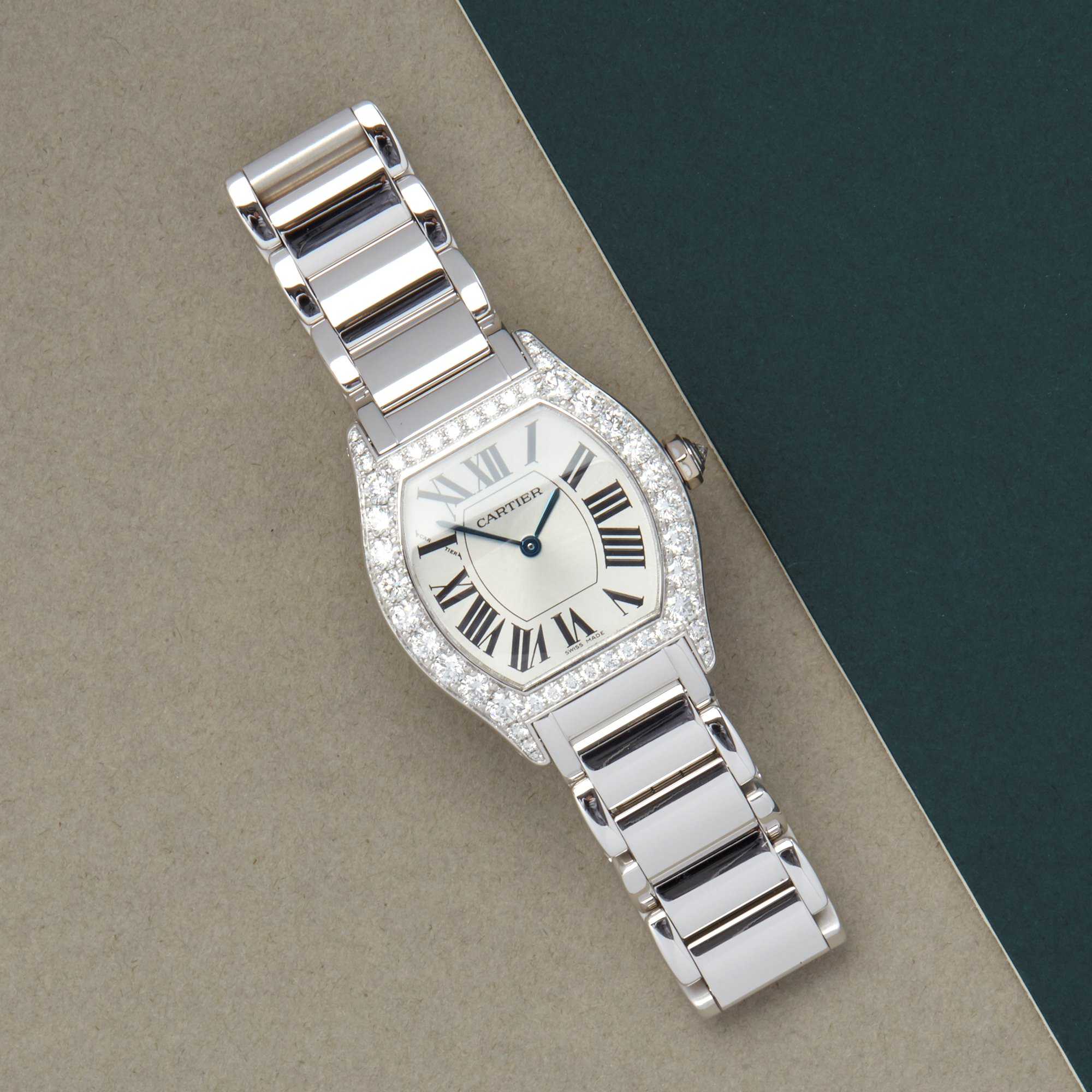 Cartier Tortue Factory Diamond 18K White Gold WA5072W9 or 2644