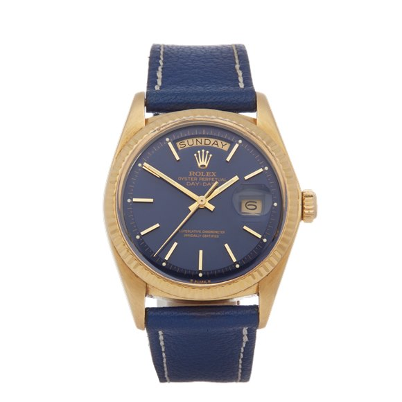 Rolex Day-Date 36 Pie Pan Gloss Blue 18K Yellow Gold - 1803