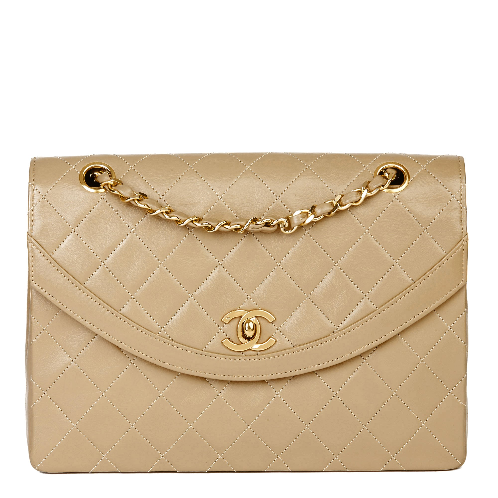 Chanel Dark Beige Quilted Lambskin Vintage Classic Single Flap Bag