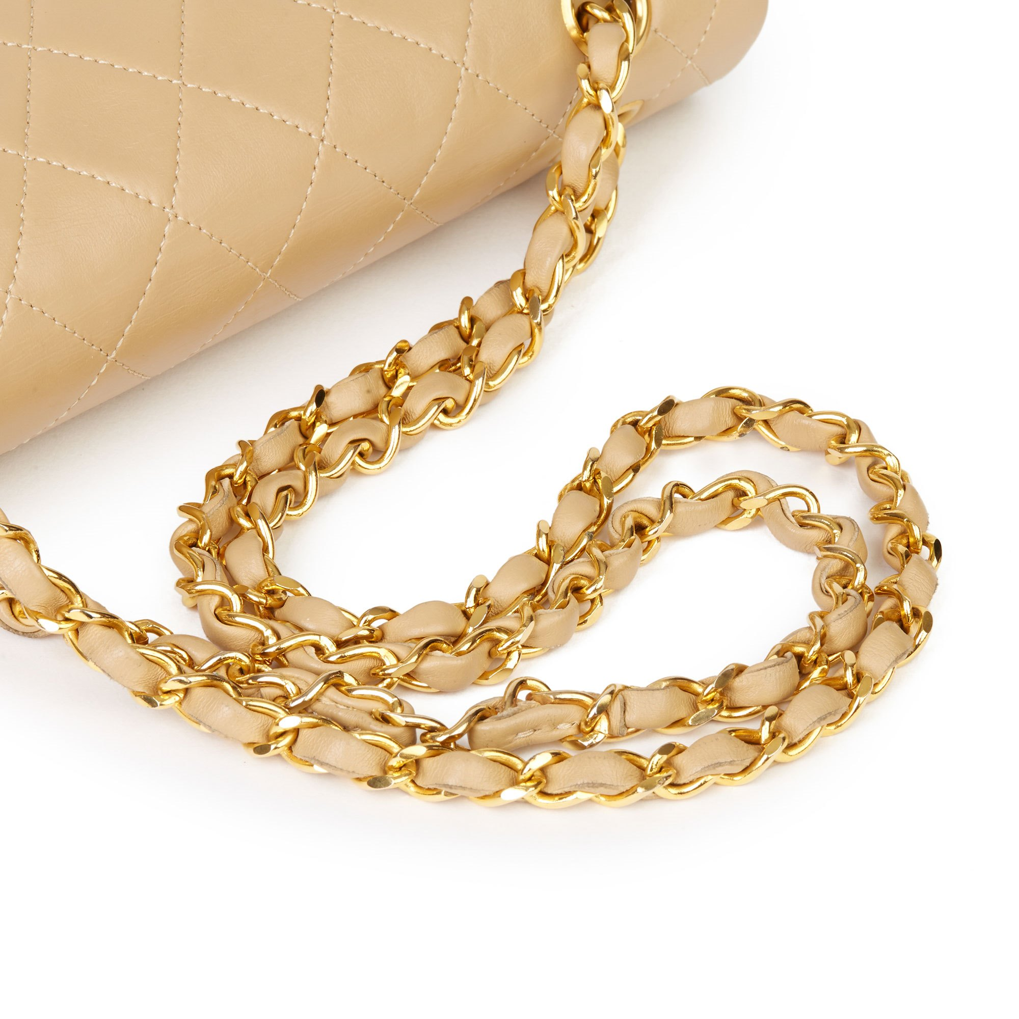 Chanel Beige Quilted Lambskin Vintage Medium Tall Classic Double Flap Bag