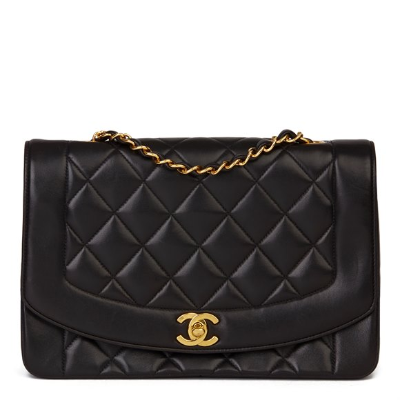 Chanel Black Quilted Lambskin Vintage Medium Diana Classic Single Flap Bag