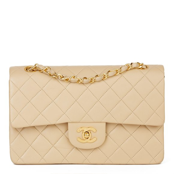 Chanel Beige Quilted Lambskin Vintage Small Classic Double Flap Bag
