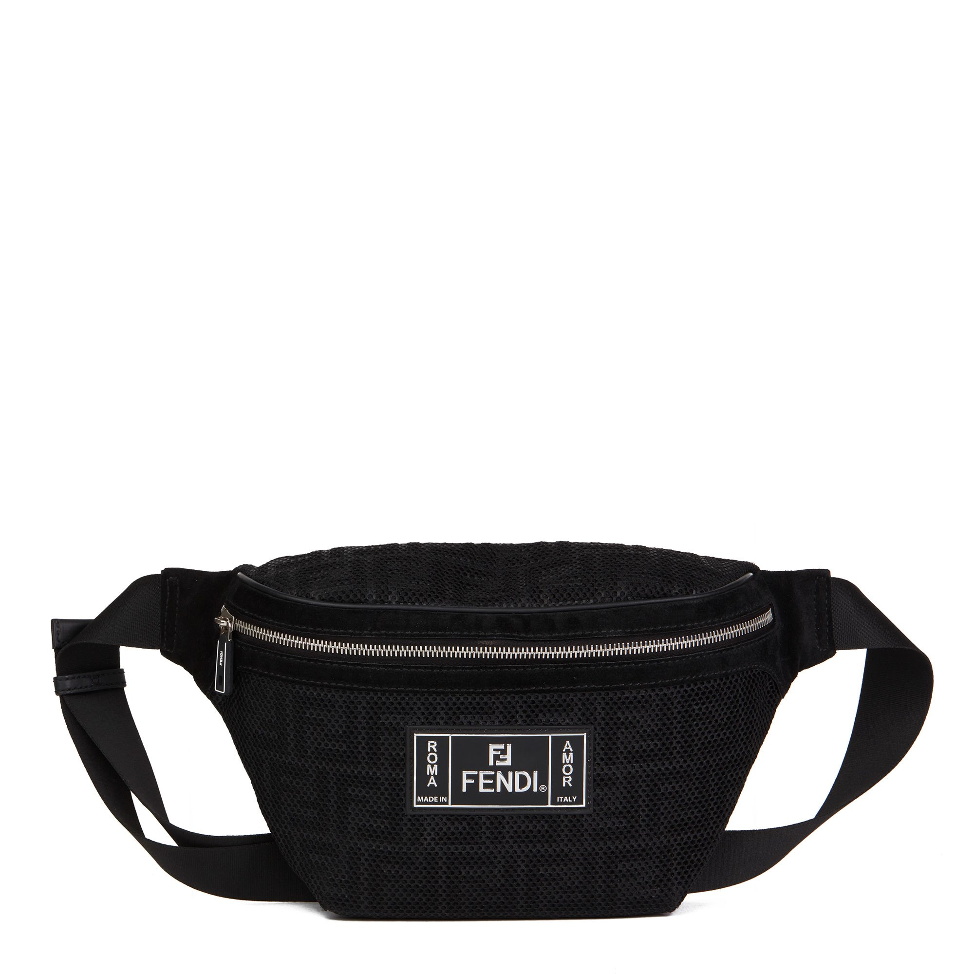 Fendi Black Zucca Mesh & Suede Belt Bag
