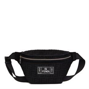 Fendi Black Zucca Mesh & Suede Belt Bag