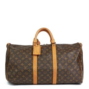 Louis Vuitton Brown Monogram Coated Canvas & Vachetta Leather Vintage Keepall 50