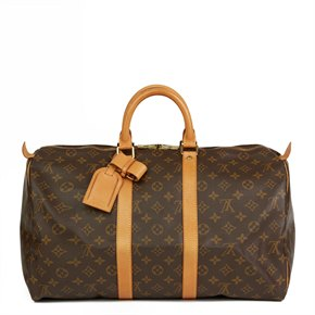 Louis Vuitton Brown Monogram Coated Canvas & Vachetta Leather Vintage Keepall 45