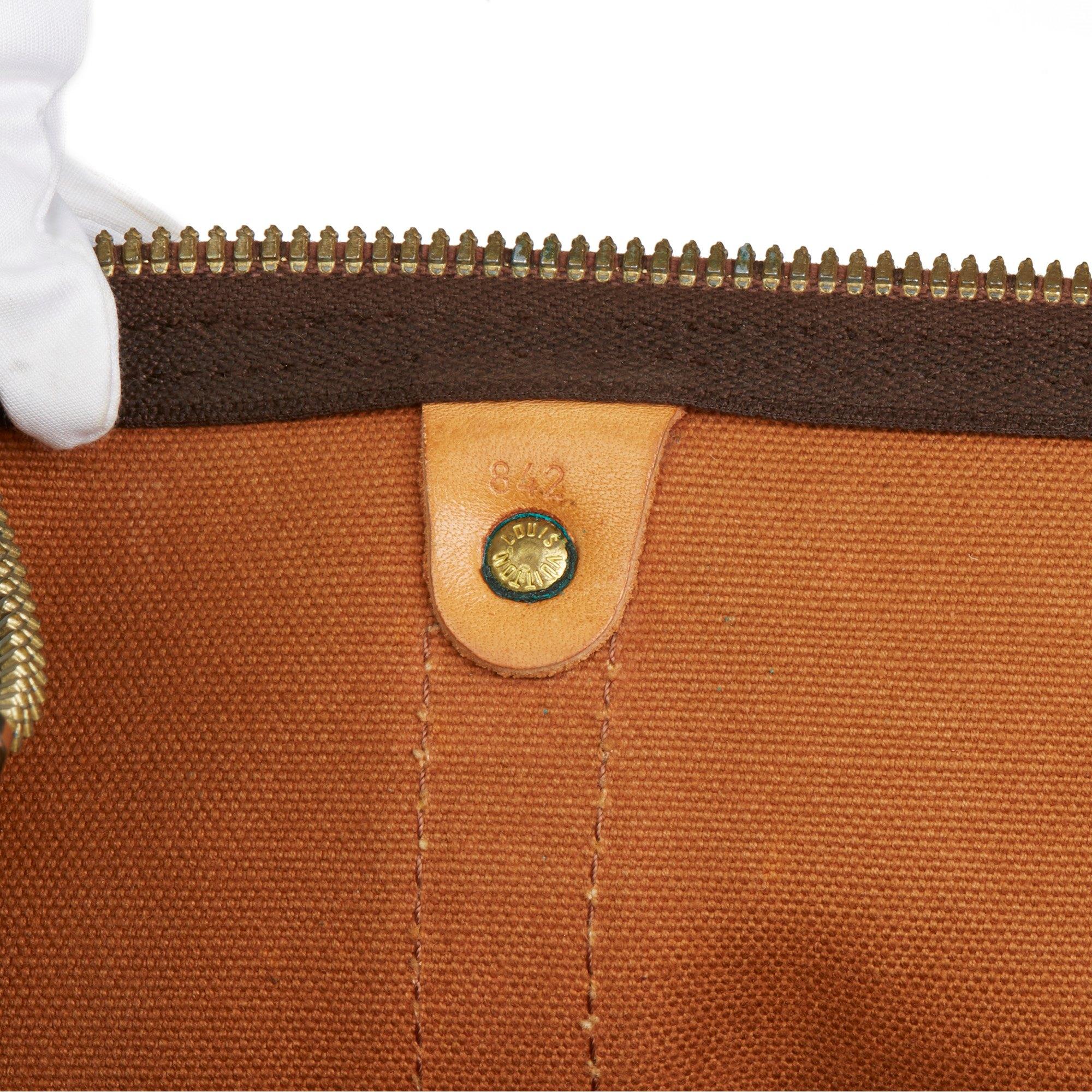 Louis Vuitton Brown Monogram Coated Canvas & Vachetta Leather Vintage Keepall 50