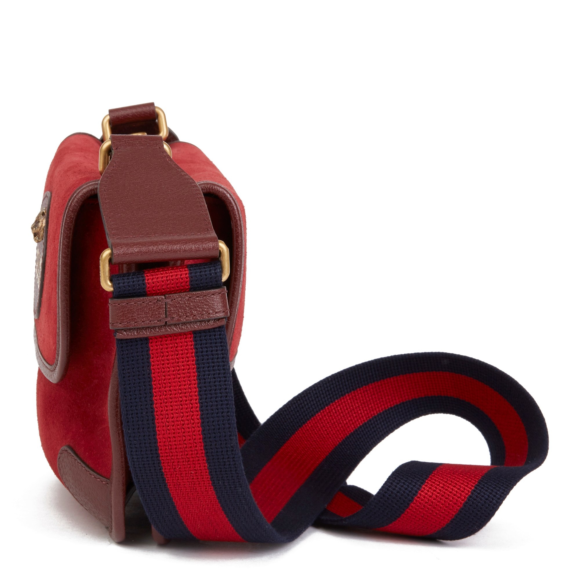 Gucci Red Suede & Burgundy Pigskin, Navy Web Small Messenger Bag
