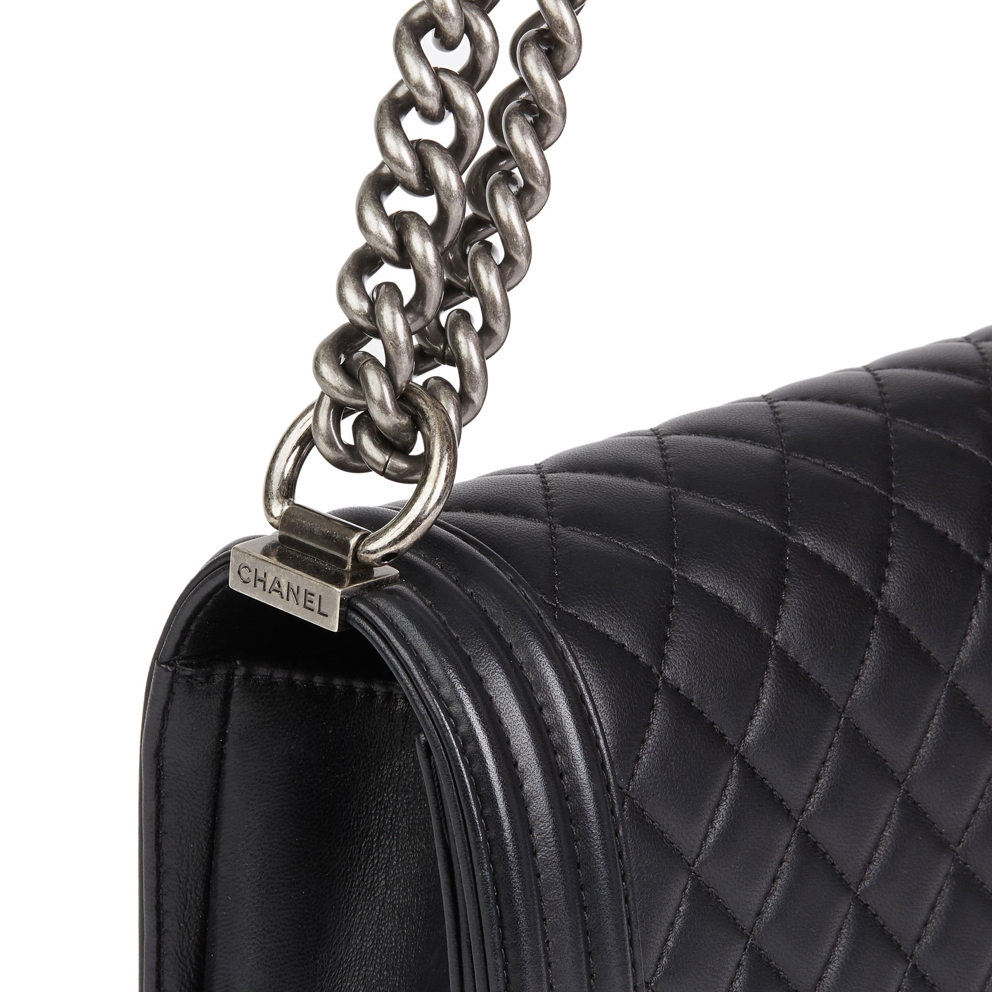 Chanel Black Quilted Lambskin Leather Medium Le Boy