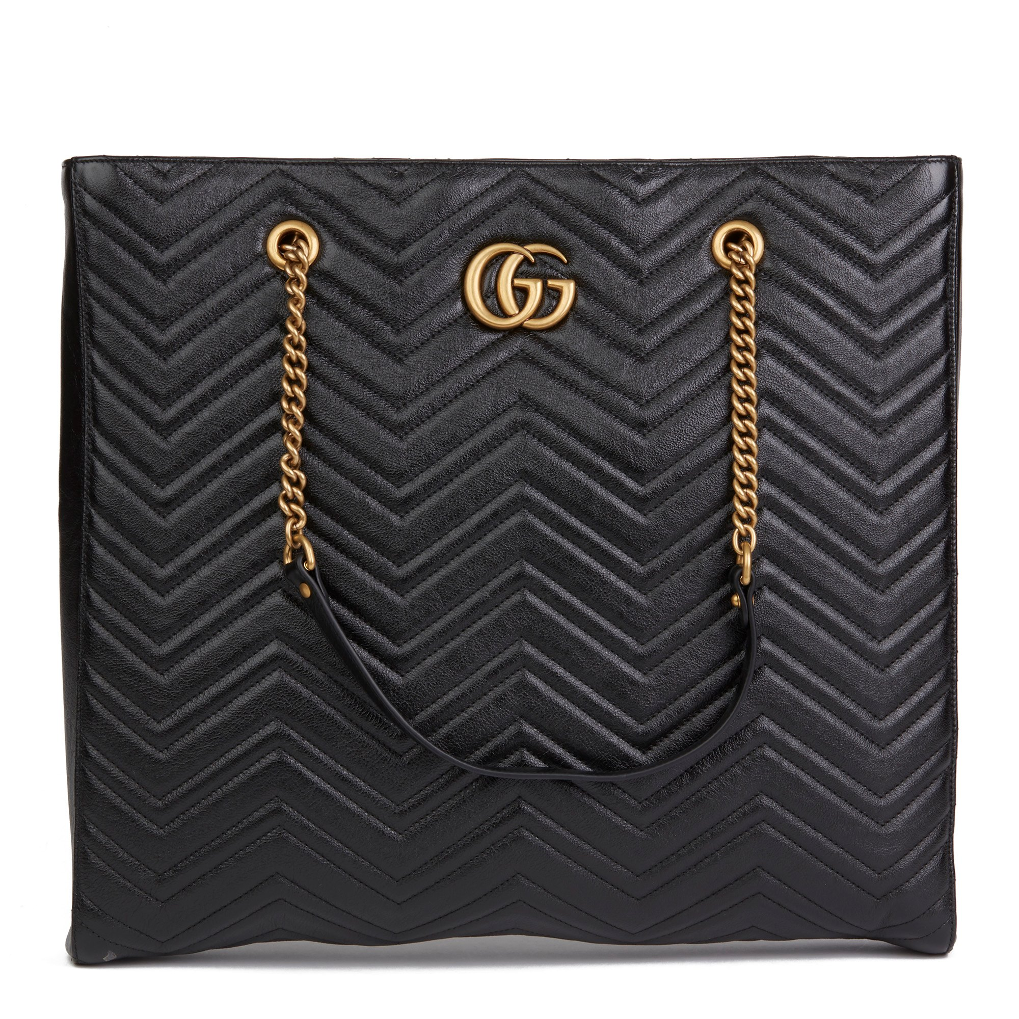 Gucci Black Quilted Shiny Calfskin Leather Marmont Shoulder Tote
