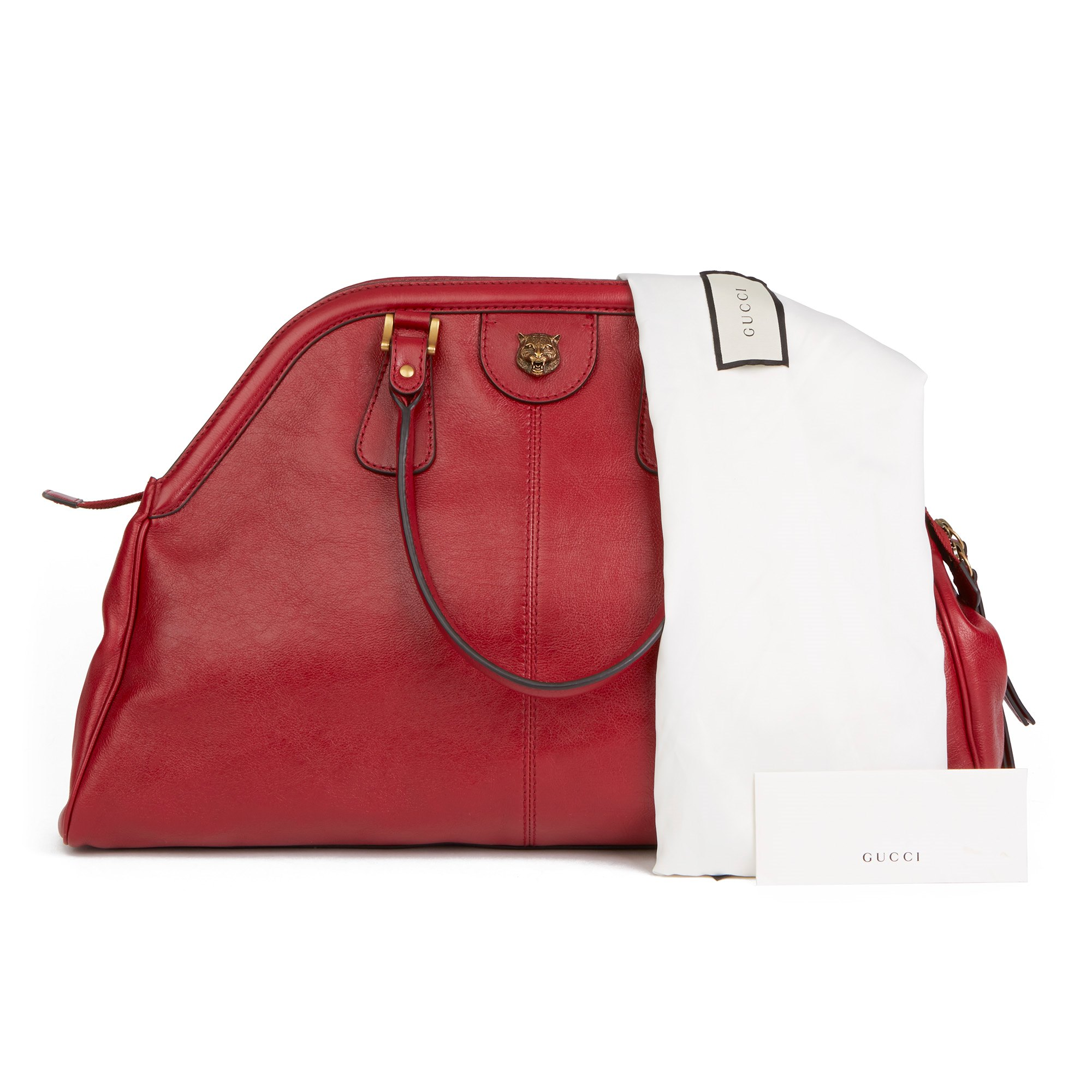 Gucci Red Aged Calfskin Large Marmont Re (Belle) Tote