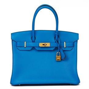Hermès Blue & Gris Mouette Chevre Mysore Leather Special Order HSS Birkin 30cm