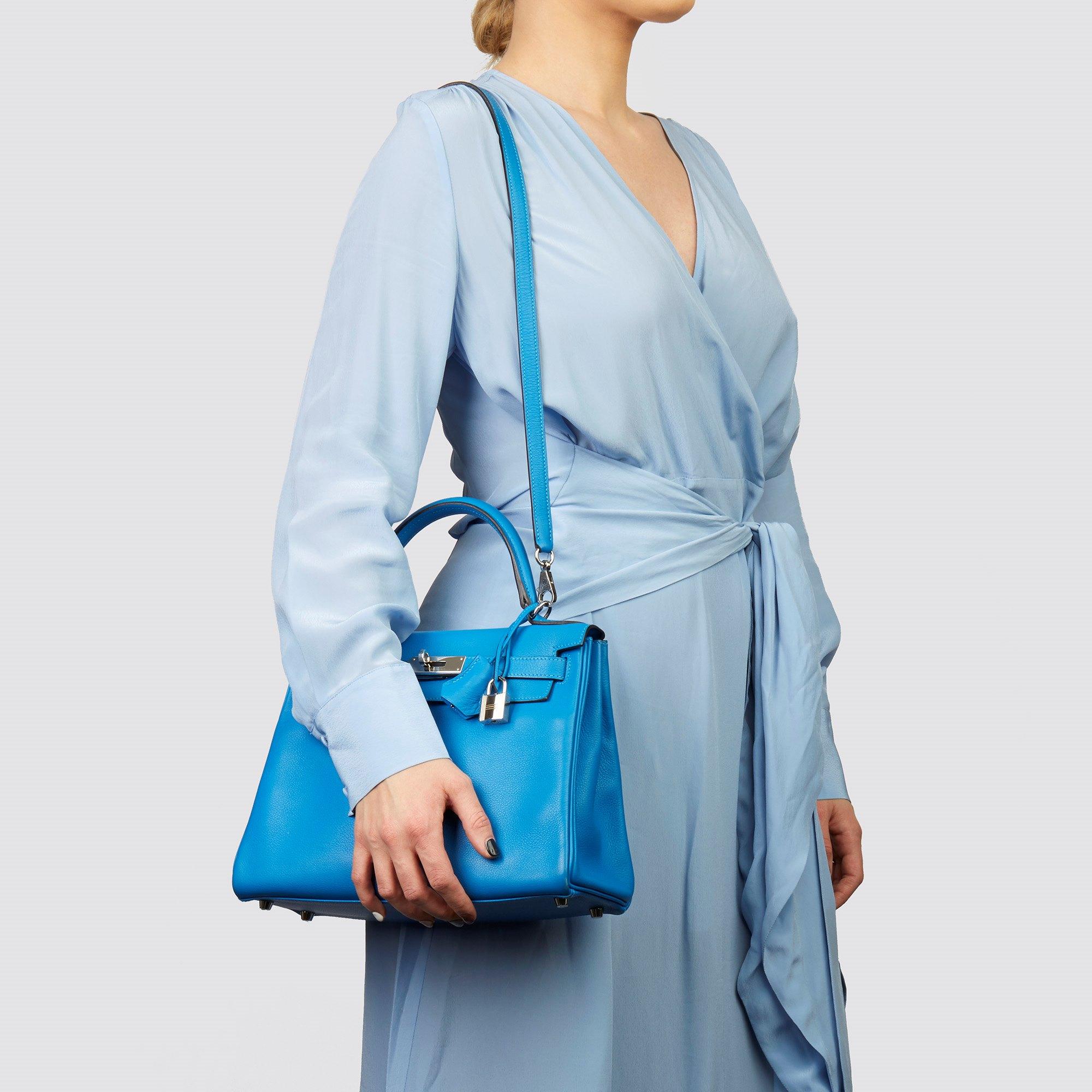 Hermès Blue Hydra Evercolour Leather Kelly 28cm Retourne