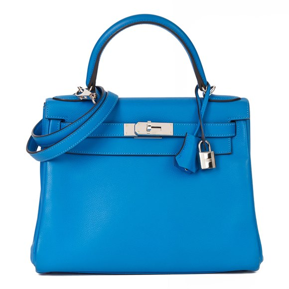Hermès Blue Hydra Evercolour Leather Kelly 28cm Retourne