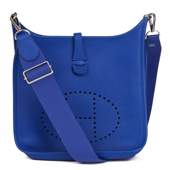 Hermès Blue Electric Clemence Leather Evelyne III 29cm