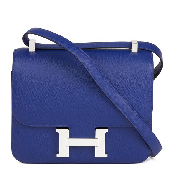 Hermès Blue Electric Epsom Leather Constance 23cm