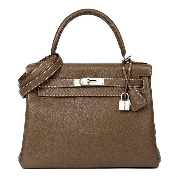 Hermès Etoupe Togo Leather Kelly 28cm Retourne